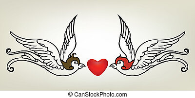 tattoo swallow heart