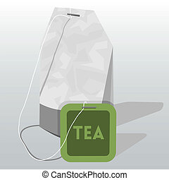 Vector illustration of tea bag with  label