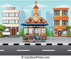 Teacher and children at the bus stop - Vector illustration...