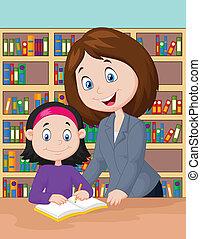 Teacher cartoon helping pupil study