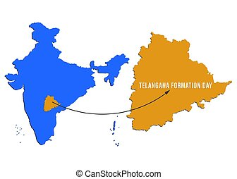 Telangana Formation day June 2nd with map on Indian map showing charminar