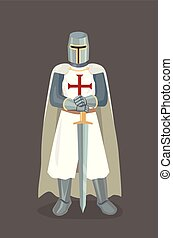 Vector Illustration Of Templar Knight With Sword