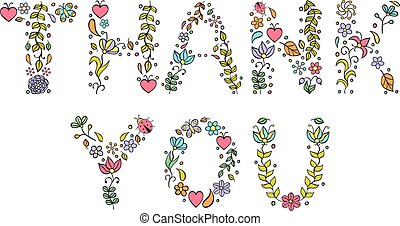 Vector illustration of 'Thank you' text on white background