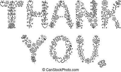 Thank you text on white background