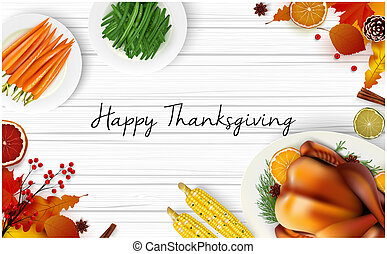 Thanksgiving day greeting card with traditional holiday dinner on wooden background