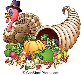 Thanksgiving horn of plenty cornucopia full of vegetables and fruit with cartoon pilgrim turkey