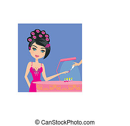 Vector illustration of the beautiful woman in beauty salon