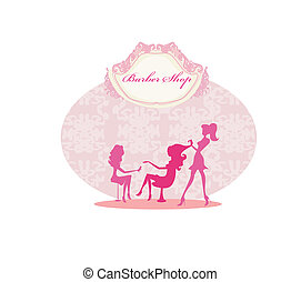 woman in beauty salon - Vector illustration of the beautiful...