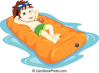 The boy floating on inflatable, sum