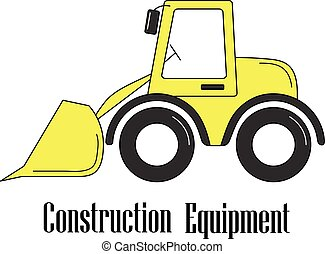 Vector illustration of the bulldozer on a white background.