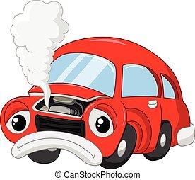 The cartoon car damage so that smok - Vector illustration of...