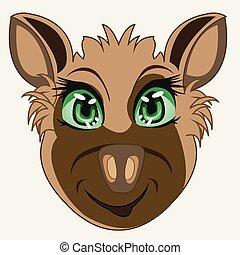 Vector illustration of the cartoon of the mug animal hyena