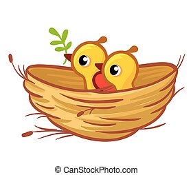 Vector illustration of the chicks sitting in the nest. Birds...