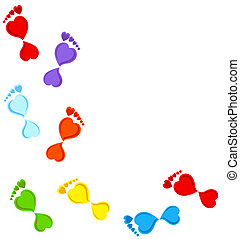 colorful Footprints made with heart
