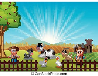 The cowboy and cowgirl at the farm with animals on the morning