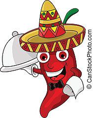 the cute chef chili cartoon