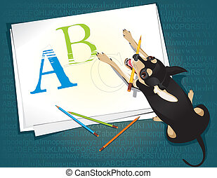 cute dog and capital letters - Vector illustration of the...