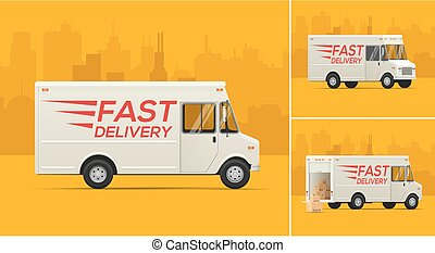 Vector Illustration of the Delivery Truck.