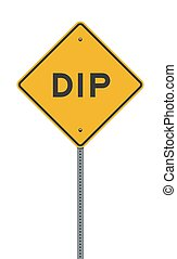 Dip Yellow Diamond road sign - Vector illustration of the ...