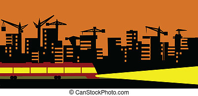 vector illustration of the evening city