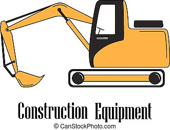 Vector illustration of the excavator on a white background.
