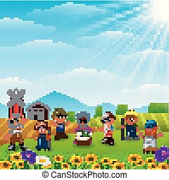 The farmers was gathered on the farm
