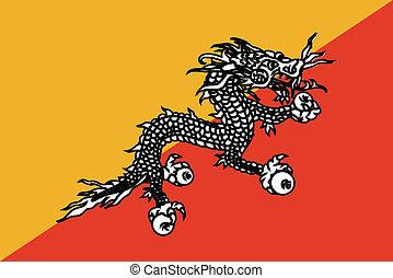 Vector illustration of the flag of Bhutane