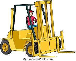 Vector illustration of the forklift
