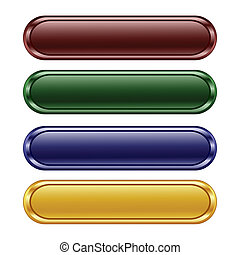 four oblong shiny buttons - vector illustration of the four ...