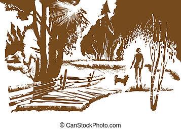 vector illustration of the girl with dog near bridge