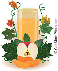 fruit juice - vector illustration of the glass of fruit ...
