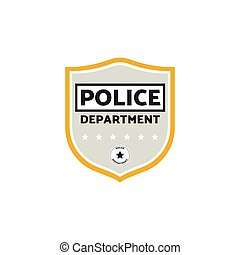 Vector illustration of the grey police badge or label with stars.