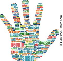 vector Illustration of the hands symbol, which is composed of text keywords on social media themes. Isolated on white.