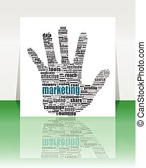 vector Illustration of the hands symbol, which is composed of text keywords on social media themes