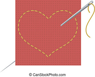 Vector illustration of the heart, needle and thread