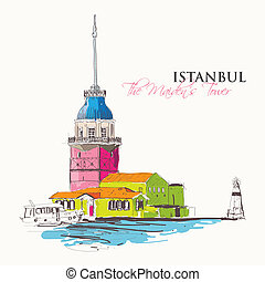 Maiden's Tower - Vector illustration of the Maiden's Tower...