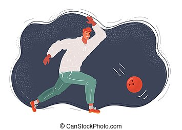 Vector illustration of The man, a playing bowling on dark background