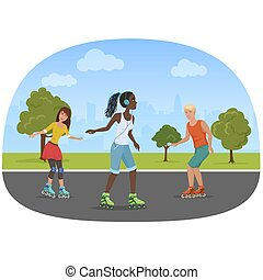 Vector illustration of the man and women rolling skates in the park.