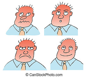 different facial expressions - Vector illustration of the ...