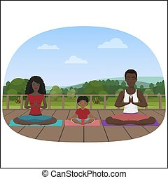 Vector illustration of the multi-ethnic family meditating on the city background.