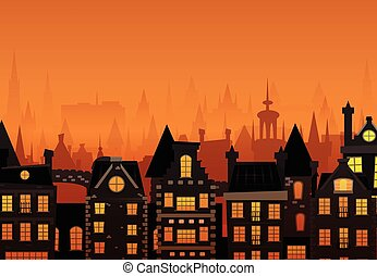 Vector illustration of the night city