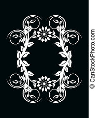vector illustration of the number zero made with floral ornament on black background