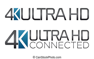 American 4K Ultra HD Label - Vector illustration of the...