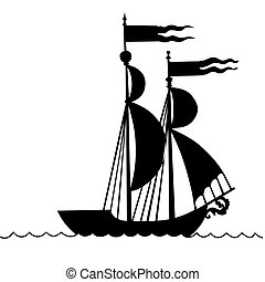 vector illustration of the old-time frigate on white background