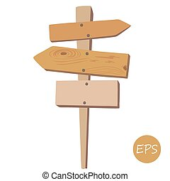 Old wooden signpost - Vector illustration of the Old wooden ...