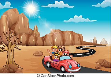 The people in a car on desert of summer