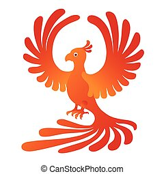 Phoenix on the white background. Fire-bird.