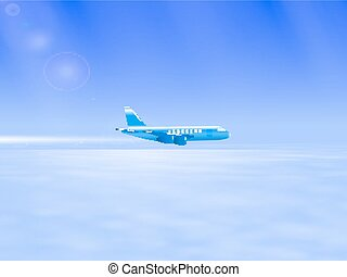 Vector illustration of the plane in the sky