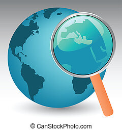 vector illustration of the planet earth under magnifier