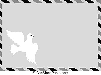 vector  illustration of the postal envelope with dove
